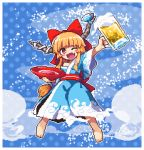 1girl ;d alcohol alternate_costume arm_up bangs bare_shoulders barefoot beer_mug blue_background blue_kimono blue_ribbon bow cloud_print commentary_request cup fang full_body hair_bow holding holding_cup horn_ribbon horns ibuki_suika japanese_clothes kimono kumamoto_(bbtonhk2) long_hair looking_at_viewer low-tied_long_hair lowres obi off_shoulder one_eye_closed oni oni_horns open_mouth orange_eyes orange_hair outline pixel_art polka_dot polka_dot_background red_bow red_sash ribbon sakazuki sake sash sidelocks smile solo sparkle touhou very_long_hair white_outline