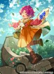 1girl blue_sky boots cape closed_eyes clouds company_name copyright_name day dress fa facial_mark fire_emblem fire_emblem:_fuuin_no_tsurugi fire_emblem_cipher forehead_mark holding leaf long_sleeves mamkute nintendo official_art open_mouth outdoors pointy_ears purple_hair short_hair sky solo stone tobi_(kotetsu)