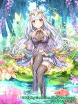 1girl armlet black_legwear blush bow_(weapon) breasts bug butterfly company_name day dragon_tactics dress gold_trim insect lily_pad long_hair looking_at_viewer medium_breasts official_art outdoors purple_dress silver_hair sitting skirt smile soaking_feet solo tayashitsu thigh-highs very_long_hair water weapon white_skirt yellow_eyes