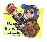 1girl 2019 baseball_cap blue_hair camouflage camouflage_jacket closed_mouth dark_blue_hair dark_skin dated hand_in_pocket happy_birthday hat holding hood hood_down hooded_jacket inkling jacket long_sleeves maco_spl pink_eyes pointy_ears range_blaster_(splatoon) short_hair smile solo splatoon splatoon_(series) splatoon_2 tentacle_hair zipper_pull_tab