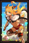 1boy 1girl :d ahoge artist_name black_bikini_top blonde_hair blue_eyes blue_sky breasts cape cleavage clouds dagger day dragalia_lost ezelith fang floating_hair fur_trim hair_ornament hentaki highres holding holding_dagger holding_weapon long_hair looking_at_viewer miniboy navel open_mouth red_shorts shoes short_shorts shorts sky small_breasts smile stomach striped striped_legwear thigh-highs two_side_up weapon white_cape white_footwear