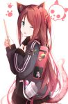 1girl akabane_youko animal_ears backpack badge bag bangs black_jacket black_skirt blush brown_hair candy cat_ears cat_tail cowboy_shot drumsticks food green_eyes hair_ornament hair_scrunchie highres holding_drumsticks jacket kemonomimi_mode long_hair long_sleeves looking_at_viewer na53 nijisanji one_eye_closed one_side_up paw_print pleated_skirt scrunchie sheet_music simple_background skirt smile tail tongue tongue_out very_long_hair virtual_youtuber white_background