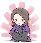 1girl akb48 black_eyes black_hair black_hakama black_shirt blush chibi commentary_request frown hakama japanese_clothes kizaki_yuria long_hair long_jacket long_sleeves no_bangs purple_coat real_life shirt solo sparkle squatting sunburst taneda_yuuta yankee