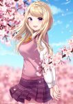1girl @ ahoge akamatsu_kaede artist_name beamed_eighth_notes blonde_hair blue_eyes blue_sky blurry blurry_background blush breasts cherry_blossoms commentary_request danganronpa day dot_nose eighth_note eyebrows_visible_through_hair from_side hair_ornament happy highres long_hair long_sleeves looking_at_viewer musical_note musical_note_hair_ornament nabekokoa necktie new_danganronpa_v3 orange_neckwear outdoors pink_sweater_vest pleated_skirt school_uniform shirt skirt sky smile solo standing sweater_vest violet_eyes