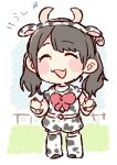 1girl :3 :d ^_^ akb48 animal_costume animal_ears animal_print belt black_hair blush bow bowtie clenched_hands closed_eyes closed_eyes commentary_request cow_costume cow_ears cow_horns cow_print ear_tag full_body horns kawamoto_saya long_hair open_mouth print_legwear print_shirt print_shorts real_life red_neckwear shirt shorts smile solo standing taneda_yuuta twintails wristband