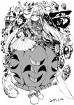 1girl blackcat_(pixiv) bow bowtie crossover dated expressionless eyebrows_visible_through_hair fan folding_fan fox_mask friday_the_13th frilled_skirt frills greyscale hannya hata_no_kokoro hockey_mask hyottoko_mask jojo_no_kimyou_na_bouken legs_together long_hair long_sleeves looking_at_viewer mask mask_on_head monkey_mask monochrome naginata new_mask_of_hope noh_mask oni_mask plaid plaid_shirt polearm shirt shoe_bow shoes skirt stone_mask_(jojo) tagme touhou weapon white_background white_footwear