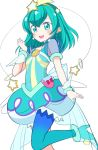 1girl :d antennae back_bow blue_bow blue_eyes blue_footwear blue_hair blue_legwear bow cowboy_shot cure_milky hagoromo_lala hair_ornament hairband long_hair looking_at_viewer magical_girl nagiyamasugi open_mouth pointy_ears precure puffy_sleeves see-through_sleeves shoes simple_background single_leg_pantyhose smile solo standing standing_on_one_leg star star_hair_ornament star_twinkle_precure white_background wrist_cuffs yellow_hairband