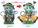 1girl :d bangs before_and_after black_headwear blush blush_stickers cowboy_shot directional_arrow eyebrows_visible_through_hair frilled_shirt_collar frills green_eyes green_hair green_skirt hat hat_ribbon heart heart_of_string itatatata jitome komeiji_koishi lightning_bolt long_hair looking_at_viewer multiple_views open_mouth parted_lips ribbon shirt simple_background skirt smile standing third_eye touhou translation_request white_background yellow_ribbon yellow_shirt