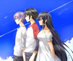 1girl 2boys ahoge arashi_teppei arm_at_side arm_behind_back bare_shoulders black_hair black_pants blue_eyes blue_sky captain_earth closed_mouth clouds collarbone dark_skin dress eyebrows_visible_through_hair floating_hair from_side green_eyes hair_between_eyes isshiki_(ffmania7) lineup long_hair long_sleeves manatsu_daichi multicolored multicolored_shirt multiple_boys mutou_hana neck off-shoulder_dress off_shoulder pants purple_hair red_eyes red_sleeves shirt short_hair short_over_long_sleeves short_sleeves sky smile standing two_side_up very_long_hair white_dress white_shirt