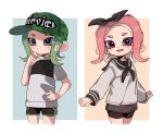 2girls :d baseball_cap bike_shorts black_neckwear black_ribbon black_sailor_collar black_shorts blue_eyes camouflage camouflage_hat closed_mouth cowboy_shot fang frown green_hair green_headwear grey_skirt hair_ribbon hand_up hat legs_apart legs_together long_hair long_sleeves looking_at_viewer maco_spl miniskirt multiple_girls neckerchief octarian octoling open_mouth pink_eyes pink_hair ribbon sailor_collar school_uniform serafuku shirt short_sleeves shorts shorts_under_skirt skirt smile splatoon splatoon_(series) splatoon_2 suction_cups tentacle_hair white_shirt