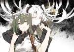 2girls abyssal_crane_hime commentary_request detached_sleeves gloves green_eyes green_hair hair_between_eyes hair_ribbon hand_holding hand_on_another's_chin horns japanese_clothes kantai_collection long_hair multiple_girls muneate nello_(luminous_darkness) red_eyes ribbon smile twintails white_hair white_ribbon zuikaku_(kantai_collection)