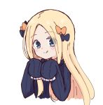 1girl :q abigail_williams_(fate/grand_order) bangs black_bow black_dress blonde_hair blue_eyes blush bow closed_mouth commentary_request cropped_torso dress fate/grand_order fate_(series) forehead hair_bow hands_up head_tilt kujou_karasuma long_hair long_sleeves looking_at_viewer no_hat no_headwear orange_bow parted_bangs simple_background sleeves_past_fingers sleeves_past_wrists smile solo tongue tongue_out upper_body very_long_hair white_background