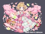 1girl animal animal_on_head bangs bird bird_on_hand blonde_hair blue_eyes blunt_bangs bow cherry_blossoms company_name crown dango dress dress_bow eyebrows_visible_through_hair flower food frills full_body grey_background hair_flower hair_ornament hanami hand_up long_sleeves looking_at_viewer maasa monster_master_x obentou official_art on_head pink_bow pink_dress puffy_sleeves short_hair sitting solo squirrel star wagashi