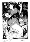 1girl blackcat_(pixiv) blobfish crossover dated dot_nose drill_hair fish greyscale head_fins holding_fish japanese_clothes kimono looking_at_viewer mermaid monochrome monster_girl patrick_star ringlets short_sleeves smile spongebob_squarepants spongebob_squarepants_(character) touhou underwater wakasagihime wide_sleeves