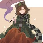 1girl animal_ears bangs beige_background black_scarf breasts brown_hair checkered checkered_scarf commentary_request eyebrows_visible_through_hair feet_out_of_frame futatsuiwa_mamizou glasses green_kimono grey_scarf hair_between_eyes hand_up highres holding japanese_clothes kimono kiseru large_breasts leaf leaf_on_head long_sleeves looking_at_viewer orange_skirt pipe raccoon_ears rin_falcon round_eyewear scarf short_hair sitting skirt smoke solo touhou two-tone_background white_background wide_sleeves yellow_eyes
