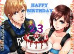 >:) 1boy 1girl 2019 bare_arms bare_shoulders birthday black_gloves blue_eyes blue_shirt blue_tubetop breasts brown_hair cake candle capcom cleavage closed_mouth collarbone copyright_name dated english_text eyebrows_visible_through_hair fingerless_gloves food fruit gloves happy_birthday hat holding holding_cake jill_valentine leon_s_kennedy light_brown_hair lips looking_at_viewer medium_breasts mr.x nagare neck nemesis open_mouth resident_evil resident_evil_1 resident_evil_2 resident_evil_3 shiny shiny_hair shirt short_hair side-by-side simple_background strapless strawberry strawberry_cake teeth trench_coat tubetop upper_body vest zombie