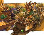 :p aqua_hair ayla blonde_hair bracelet braid castle cat chrono_trigger crono dalton dean_silog doan_(chrono_trigger) everyone family flea frog_(chrono_trigger) glasses gloves goggles grin hat headband janus_zeal jewelry johnny_(chrono_trigger) kaeru_(chrono_trigger) laughing long_hair lucca_ashtear magic_carpet magus marle nu open_mouth orange_hair ozzie pinky_out ponytail purple_hair queen_zeal racing red_hair robo robot schala_zeal silver_hair slash_(chrono_trigger) smile thumbs_down tongue troll_face water wrench