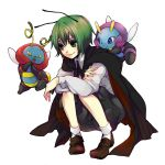 1girl antenna antennae bad_id crossover green_eyes green_hair highres illumise pokemon pokemon_(creature) short_hair squatting todoroki_sora touhou volbeat wriggle_nightbug