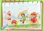 adeleine blue_sky clouds crayon crayon_(medium) crystal dress grass green_shirt hammer highres king_dedede kirby kirby_(series) kirby_64 nintendo pink_hair rainbow red_dress red_headwear ribbon ribbon_(kirby) shirt sketchbook sky speech_bubble star sweatdrop takaramono traditional_media tripping waddle_dee