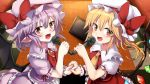 2girls absurdres ascot bangs bat_wings black_wings blonde_hair blush bow brooch brown_eyes checkered checkered_floor collared_shirt commentary_request crystal eyebrows_visible_through_hair fang flandre_scarlet frilled_shirt_collar frilled_skirt frills hair_between_eyes hand_holding hat hat_bow highres holding holding_microphone indoors interlocked_fingers jewelry long_hair looking_at_viewer microphone mob_cap multiple_girls noa_(nagareboshi) one_side_up open_mouth pointy_ears puffy_short_sleeves puffy_sleeves purple_hair purple_headwear purple_shirt purple_skirt red_bow red_eyes red_neckwear red_skirt red_vest remilia_scarlet shirt short_sleeves siblings single_wrist_cuff sisters skirt table touhou vest white_headwear white_shirt wings wrist_cuffs yellow_neckwear
