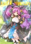 >:) 1girl anniversary bare_shoulders bell black_coat blue_hair bow bread breasts cleo_(dragalia_lost) commentary detached_sleeves dragalia_lost dragon dragon_wings dress eating english_commentary english_text eyebrows_visible_through_hair feeding food giving gradient_hair gurugurere hair_bell hair_bow hair_ornament highres hikage_(dragalia_lost) large_breasts multicolored_hair purple_hair smile twintails twitter_username violet_eyes watermark white_dress white_legwear wings yellow_eyes