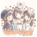 3girls :d :o ;3 akb48 alice_in_wonderland animal_ears bangs black_eyes black_hair black_headwear black_neckwear blush bow bowtie card collarbone collared_shirt commentary_request cosplay earrings facial_mark halloween halloween_costume hat heart heart_cutout jewelry lipstick_mark long_hair looking_at_viewer mole mole_under_eye mukaichi_mion multiple_girls nurse nurse_cap ooshima_ryouka open_mouth playing_card police police_hat police_uniform rabbit_ears real_life shirt short_hair smile takahashi_jyuri taneda_yuuta top_hat twintails uniform upper_body white_rabbit white_rabbit_(cosplay)