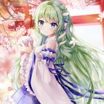 1girl bangs bare_shoulders blue_eyes blue_skirt blush cherry_blossoms closed_mouth detached_sleeves eyebrows_visible_through_hair fingernails flower frilled_skirt frilled_sleeves frills frog_hair_ornament green_hair hair_between_eyes hair_ornament hair_tubes holding japanese_clothes kimono kochiya_sanae long_hair long_sleeves looking_at_viewer looking_to_the_side microphone mutang petals pink_flower pleated_skirt skirt sleeveless sleeveless_kimono smile snake_hair_ornament solo torii touhou tree_branch very_long_hair white_kimono white_sleeves wide_sleeves