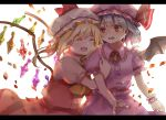 2girls arm_hug bat_wings blonde_hair blouse blue_eyes breasts brooch closed_eyes crystal flandre_scarlet hat hat_ribbon head_on_another's_shoulder jewelry letterboxed looking_at_another mob_cap multiple_girls nail_polish open_mouth petals pink_blouse pink_headwear pink_skirt piyo_(sqn2idm751) puffy_short_sleeves puffy_sleeves red_nails red_skirt red_vest redhead remilia_scarlet ribbon shadow shiny shiny_hair shirt short_hair short_sleeves siblings side_ponytail simple_background sisters skirt small_breasts touhou upper_body upper_teeth vest white_background white_headwear white_shirt wings wrist_cuffs