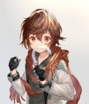 1boy age_regression alternate_costume brown_hair casual coto_ne feathers gloves granblue_fantasy half_gloves jacket male_focus red_eyes sandalphon_(granblue_fantasy) scarf shirt short_hair solo younger