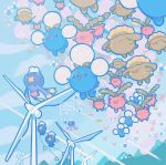 :d blue_sky clouds cloudy_sky commentary creature day drifblim drifloon english_commentary gen_2_pokemon gen_4_pokemon hoppip jumpluff mountain no_humans open_mouth outdoors pokemon pokemon_(creature) signature skiploom sky smile valley_windworks wind_turbine windmill yamato-leaphere
