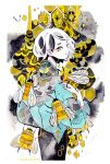 1girl antennae artist_name bee bug from_behind hand_on_own_shoulder honeycomb_(pattern) insect long_sleeves looking_at_viewer looking_back maruti_bitamin original oversized_insect short_hair smile solo white_hair yellow_eyes