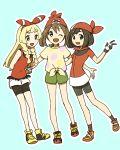 3girls :d ;d arms_behind_back bandanna bangs black_eyes black_shorts blonde_hair blush cosplay creatures_(company) full_body game_freak green_eyes green_shorts happy haruka_(pokemon) haruka_(pokemon)_(cosplay) lillie_(pokemon) long_hair looking_at_viewer medium_hair miu_(miuuu_721) mizuki_(pokemon) mizuki_(pokemon)_(cosplay) multiple_girls nintendo one_eye_closed open_mouth pokemon pokemon_(game) pokemon_oras pokemon_rse pokemon_sm red_bandana shoes shorts sidelocks smile standing v