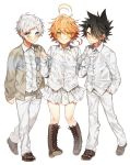1girl 2boys animal_ears black_hair blush boots cat_ears collared_shirt emma_(yakusoku_no_neverland) green_eyes holding_hands leather leather_boots multiple_boys neck_tattoo norman_(yakusoku_no_neverland) number_tattoo orange_hair ray_(yakusoku_no_neverland) sapphire_4825 shirt smile tattoo white_hair white_shirt yakusoku_no_neverland