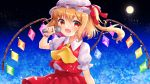 1girl arm_up blonde_hair cravat crystal eyebrows_visible_through_hair fang flandre_scarlet full_moon gradient_sky hair_between_eyes hat hat_ribbon highres holding holding_microphone kurumi_lm looking_at_viewer microphone mob_cap moon nebula night night_sky open_mouth puffy_short_sleeves puffy_sleeves red_eyes red_skirt red_vest ribbon shirt short_hair short_sleeves side_ponytail skirt sky solo standing star_(sky) starry_sky touhou upper_body vest white_headwear white_shirt wings wrist_cuffs yellow_neckwear