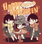 3girls :d akb48 bangs black_footwear black_hair black_robe black_skirt blush cake chair chibi clenched_hand food glasses grey_legwear halloween happy_halloween harry_potter hat hogwarts_school_uniform holding holding_wand jack-o'-lantern katou_rena kizaki_yuria long_hair mole_above_mouth multiple_girls ooshima_ryouka open_mouth real_life red_scarf round_eyewear scarf school_uniform shoes sitting skirt smile solid_circle_eyes sparkle squatting standing striped striped_scarf table taneda_yuuta v-shaped_eyebrows wand window witch_hat yellow_scarf