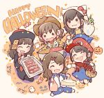 5girls :3 :d ^_^ akb48 animal_hat animal_print bag bangs basket black_eyes black_hair blue_dress blue_pants blush bow brown_hair brown_headwear candy cat_hat chibi closed_eyes closed_eyes commentary_request confetti cosplay cow_print cowboy_hat dress fang food ghost hair_ornament hairclip halloween halloween_costume happy_halloween hat hat_bow holding holding_bag holding_basket holding_tray jack-o'-lantern jacket jiangshi_costume katou_rena long_sleeves majisuka_gakuen mario mario_(cosplay) mario_(series) meat mole mole_under_eye mole_under_mouth mukaichi_mion multiple_girls nabe nintendo ofuda ooshima_ryouka open_mouth pants pinafore_dress plaid plaid_shirt ponytail print_vest red_bandana red_bow red_headwear red_shirt sheriff_woody sheriff_woody_(cosplay) shirt shopping_bag short_hair sitting smile spring_onion takahashi_jyuri taneda_yuuta throwing toy_story track_jacket track_suit tray twintails uchiyama_natsuki v-shaped_eyebrows western yellow_shirt