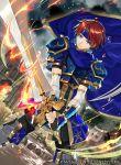 1boy armor blue_eyes cape fire_emblem fire_emblem:_fuuin_no_tsurugi gloves headband kyo_niku male_focus nintendo redhead roy_(fire_emblem) short_hair simple_background solo sword weapon
