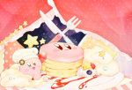 chef_hat curtains food fork hat kananishi kirby kirby_(series) knife night night_sky nintendo open_mouth pancake pastel_colors polka_dot sky smile sparkling_eyes star striped syrup whipped_cream
