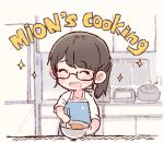 1girl :d ^_^ akb48 apron bangs blue_apron blurry blurry_background blush bowl character_name chibi closed_eyes closed_eyes commentary cooking english_commentary english_text kitchen long_hair mole mole_under_eye mukaichi_mion open_mouth ponytail real_life rice_cooker shirt sidelocks smile solo sparkle spoon stirring taneda_yuuta upper_body white_shirt