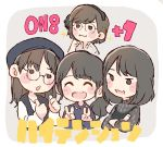 4girls :3 :d ^_^ akb48 bangs beanie black_eyes black_hair black_headwear black_shirt black_vest blush brown_hair chibi closed_eyes commentary_request crossed_arms double_v glasses grey_background grey_shirt hand_on_own_chin hat headphones jewelry kizaki_yuria long_hair miyazaki_miho mukaichi_mion multiple_girls necklace o_o open_mouth real_life round_eyewear shirt short_hair single_headphone smile song_name sparkle takahashi_jyuri taneda_yuuta thumbs_up translated v vest white_shirt