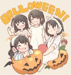 >:) 5girls ^_^ akb48 bangs beige_background black_hair blush bow brown_hair clenched_hand closed_eyes closed_eyes commentary_request facial_mark hair_bow halloween hand_up heart holding jack-o'-lantern katou_rena long_hair long_sleeves looking_at_viewer mole mole_under_eye mole_under_mouth mukaichi_mion multiple_girls nightgown nightshirt one_side_up ooshima_ryouka pajamas pink_bow ponytail real_life short_hair short_sleeves sidelocks sitting takahashi_jyuri taneda_yuuta towel towel_on_head twintails