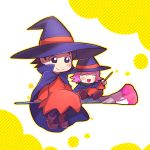 adeleine black_hair blush_stickers cape chiimako dress hat kirby_(series) nintendo paintbrush pink_hair red_dress ribbon_(kirby) smile wand witch_costume witch_hat