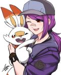 1girl :d airisubaka bangs commentary creatures_(company) english_commentary eyebrows_visible_through_hair game_freak gen_8_pokemon hair_ornament happy hat highres holding jacket long_hair looking_at_another looking_at_viewer nintendo one_eye_closed open_mouth original pokemon pokemon_(creature) ponytail purple_hair purple_jacket rabbit red_eyes scorbunny signature simple_background smile upper_teeth white_background