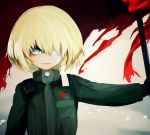 1girl bandage bandage_over_one_eye bangs blonde_hair blue_eyes closed_mouth commentary emblem flag frown girls_und_panzer green_jumpsuit holding holding_flag katyusha long_sleeves looking_at_viewer pravda_military_uniform red_flag short_hair solo standing susumu upper_body