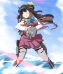 1girl adapted_turret black_hair blue_sky boots bow bowtie breasts cannon clenched_teeth clouds cross-laced_footwear day full_body grey_legwear hair_ribbon halterneck kantai_collection lace-up_boots large_breasts long_hair machinery multicolored_hair naganami_(kantai_collection) outdoors pantyhose pink_hair pose ribbon shirt sky smokestack solo speed_lines standing teeth torpedo_launcher turret two-tone_hair water wavy_hair white_shirt yellow_eyes yoshi_tama