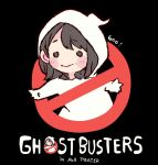 1girl akb48 bangs black_background black_eyes black_hair blush chibi commentary_request english_text ghost_costume ghostbusters long_hair mole_above_mouth murayama_yuiri no_symbol o_o parody real_life simple_background smile solo taneda_yuuta