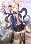 1girl abigail_williams_(fate/grand_order) alternate_costume artist_name bag_charm bangs black_bow black_ribbon black_skirt blazer blonde_hair blue_eyes blue_jacket blue_sky blush bow brown_legwear bug butterfly charm_(object) commentary_request day dress_shirt fate/grand_order fate_(series) flower forehead grey_scarf hair_bow hair_ornament hand_up holding insect jacket long_hair long_scarf long_sleeves looking_at_viewer neck_ribbon open_blazer open_clothes open_jacket outdoors parted_bangs parted_lips pink_flower pink_sweater pleated_skirt purple_scarf red_ribbon ribbon scarf school_briefcase shirt skirt sky sleeves_past_wrists solo standing sweater tentacle thigh-highs tree tree_branch tyone very_long_hair white_shirt