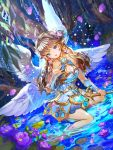 1girl blue_eyes braid breasts brown_hair cleavage cleavage_cutout detached_sleeves flower glowing hair_flower hair_ornament holding holding_weapon in_water leaf long_hair looking_at_viewer night night_sky open_mouth original petals pointy_ears sky tree wand water weapon wings