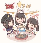 3girls :3 :d :t ^_^ akb48 alice_in_wonderland animal_ears bangs black_eyes black_hair black_headwear blue_shirt blush card chibi closed_eyes closed_eyes commentary_request cosplay earrings eating food food_on_face halloween halloween_costume hat holding holding_plate jewelry long_hair mole mole_under_eye mukaichi_mion multiple_girls nurse nurse_cap o_o ooshima_ryouka open_mouth plate playing_card police police_hat police_uniform rabbit_ears real_life shirt short_hair smile takahashi_jyuri takoyaki takoyaki_pan taneda_yuuta translation_request twintails uniform v-shaped_eyebrows white_rabbit white_rabbit_(cosplay)