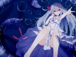1girl bad_proportions bare_shoulders blue_background blue_eyes bow breasts dress feet_out_of_frame hair_bow highres kafuka long_hair needle open_mouth original outstretched_hand small_breasts smile tentacle underwater white_dress white_hair yandere